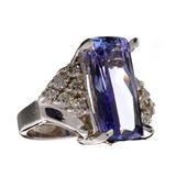 APP: 19.2k 14 kt. White Gold, 7.77CT Rectangular Cushion Cut Tanzanite And 0.47CT Diamond Ring