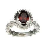 Fine Jewelry Designer Sebastian, Garnet And White Topaz Sterling Silver Ring