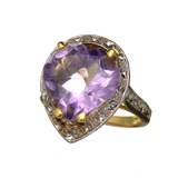 14 kt. Yellow and White Gold, 9.46CT Amethyst Ring