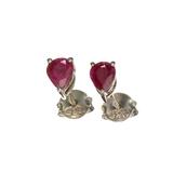 APP: 0.2k Fine Jewelry 0.90CT Pear Cut Ruby And Sterling Silver Earrings