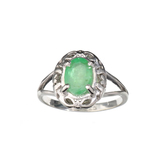 APP: 1.9k Fine Jewelry 1.12CT Oval Cut Green Beryl Emerald And Platinum Over Sterling Silver Ring