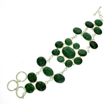 APP: 7.1k 85.76CT Oval Cut Green Sapphire and Sterling Silver Bracelet