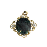 APP: 2.9k Fine Jewelry 14 KT Gold, 11.08CT Oval Cut Green Emerald And Diamond Pendant