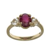 APP: 1.2k Fine Jewelry Designer Sebastian 14 KT Gold, 2.07CT Red Ruby And White Sapphire Ring