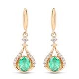 *Fine Jewelry 14K Gold, 1.84CT Zambian Emerald And White Diamond Round Earrings (Q-E5610EWD-14KY)