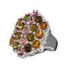 4.50CT Oval Cut Multi-Colored Multi Precious Gemstones And Platinum Over Sterling Silver Ring