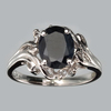 Fine Jewelry Designer Sebastian 2.35CT Blue Sapphire And Topaz  Platinum Over Sterling Silver Ring