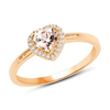 *Fine Jewelry 14 KT Gold, 2.04CT Morganite Heart Shape And White Diamond Ring (Q-R20608MGWD-14KY)