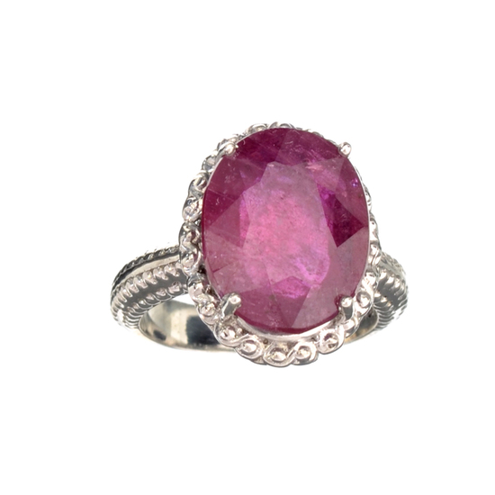 Fine Jewelry Designer Sebastian 10.18CT Oval Cut Ruby And Platinum Over Sterling Silver Ring