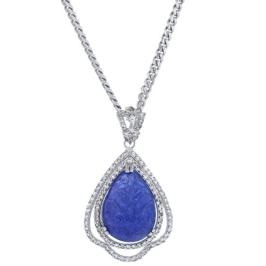 APP: 3.2k *Silver 16.59ct Tanzanite and 1.14ctw White Topaz Pendant (Vault_R8_13851)