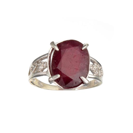 Fine Jewelry Designer Sebastian 7.59CT Ruby And Colorless Topaz Platinum Over Sterling Silver Ring