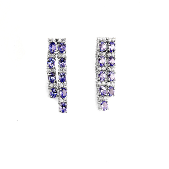 APP: 3.2k Fine Jewelry 3.73CT Tanzanite And Topaz Platinum Over Sterling Silver Earrings