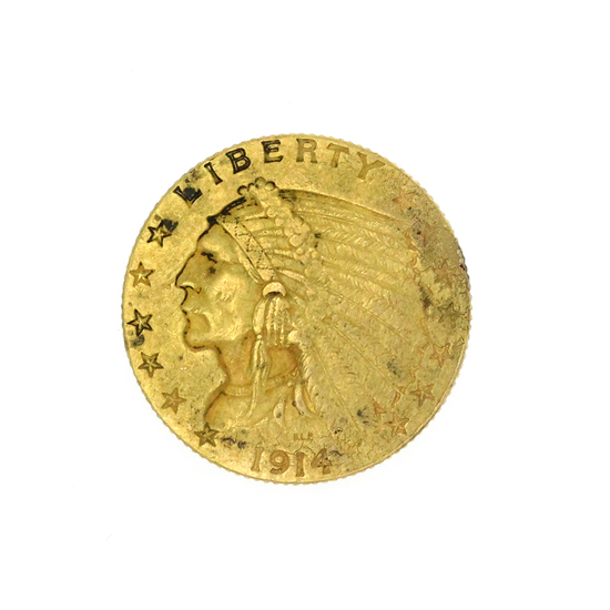 Extremely Rare 1914-D $2.50 U.S. Indian Head Gold Coin