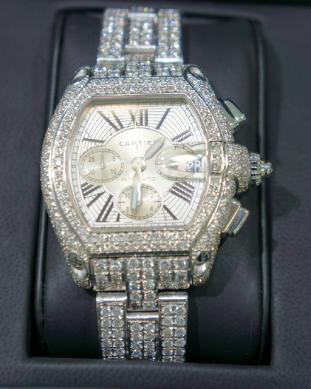 *Cartier Mens Roadster Chrono Watch - Diamonds XL -P-