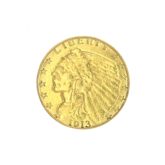 Extremely Rare 1913 $2.50 U.S. Indian Head Gold Coin
