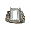 Fine Jewelry 5.30CT Light Blue Aquamarine And Colorless Topaz Platinum Over Sterling Silver Ring