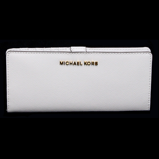 Gorgeous Brand New Never Used Optic White Michael Kors Flat Slim Bi-fold Wallet Bag Tag Price $128