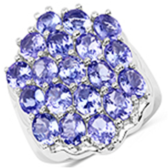 APP: 4.3k 6.27CT Nineteen Prong Set Oval Cut Tanzanites 925 Sterling Silver Ring