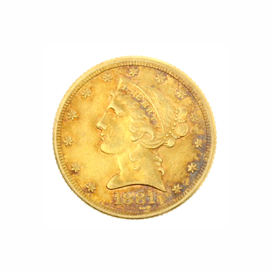 Rare 1881 $5 U.S. Liberty Head Gold Coin