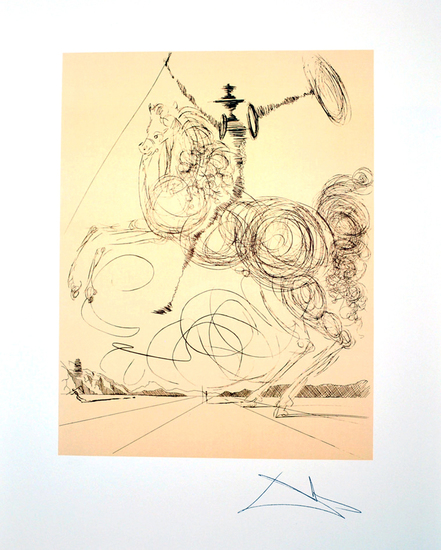 SALVADOR DALI (After) Don Quioxte in Sepia Lithograph, 184 of 500