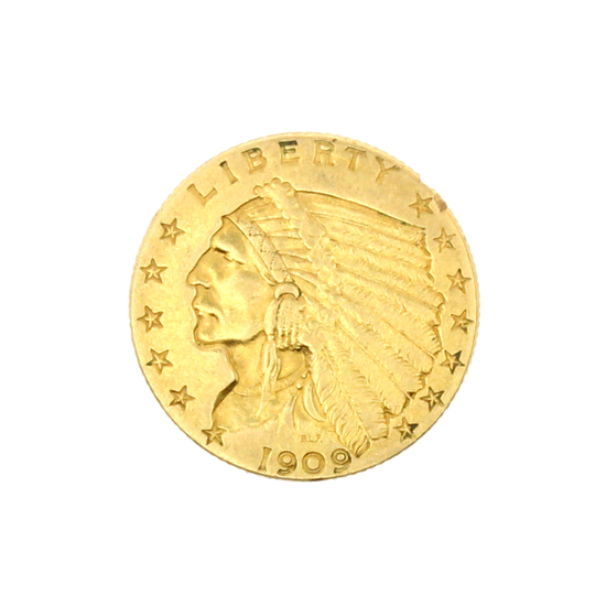 Rare 1909 $2.50 U.S. Indian Head Gold Coin