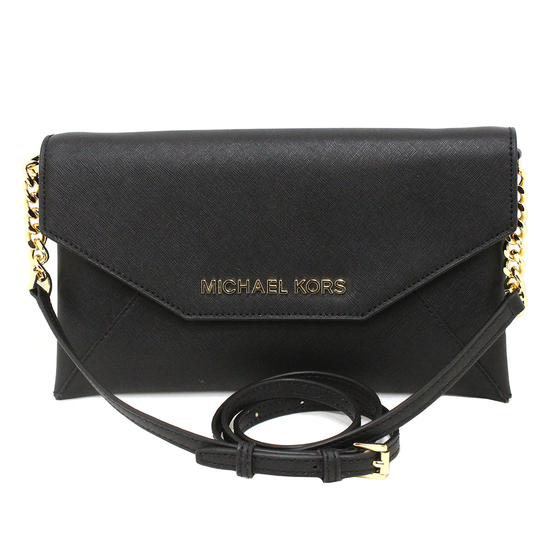 Gorgeous Brand New Never Used Black Michael Kors Medium Envelope Clutch Bag Tag Price $328