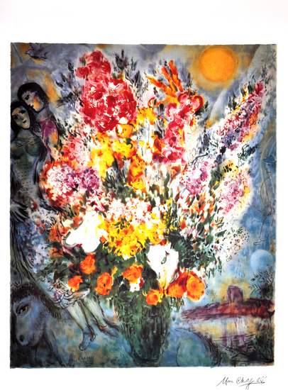 MARC CHAGALL (After) Floral Bouquet Print, I459 of 500