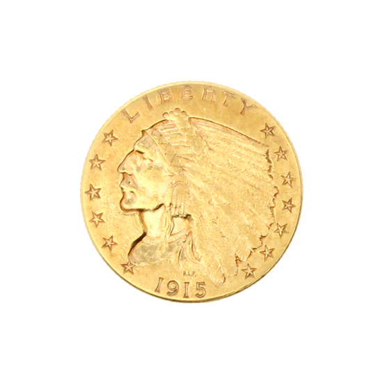 Rare 1915 $2.50 U.S. Indian Head Gold Coin