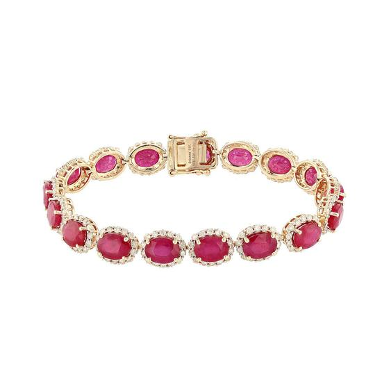 APP: 16.9k *31.26ctw Ruby and 4.00ctw Diamond 14K Yellow Gold Bracelet (Vault_R9_22312)