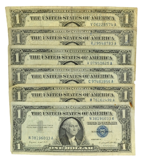 (6) 1957 $1 U.S. Silver Certificates