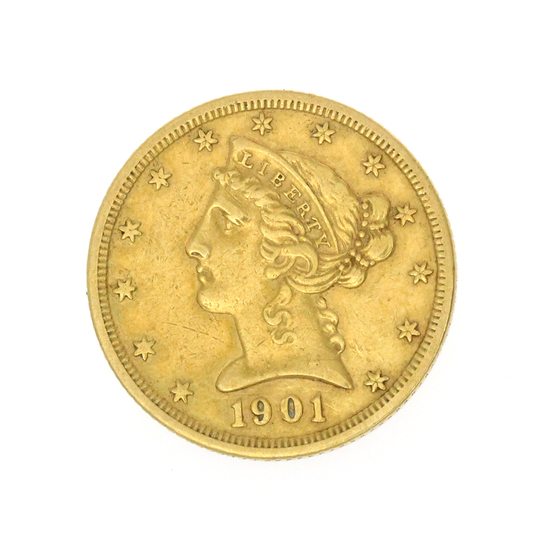 Extremely Rare 1901-S $5 U.S. Liberty Head Gold Coin