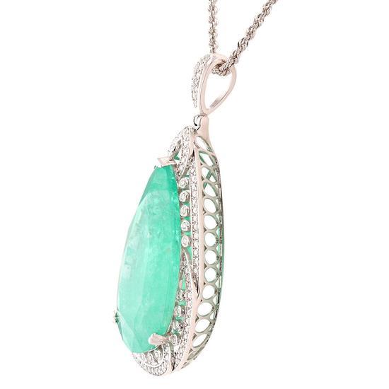 APP: 124.6k *55.62ct Emerald and 1.38ctw Diamond Platinum Pendant/Necklace (Vault_R9_21766)