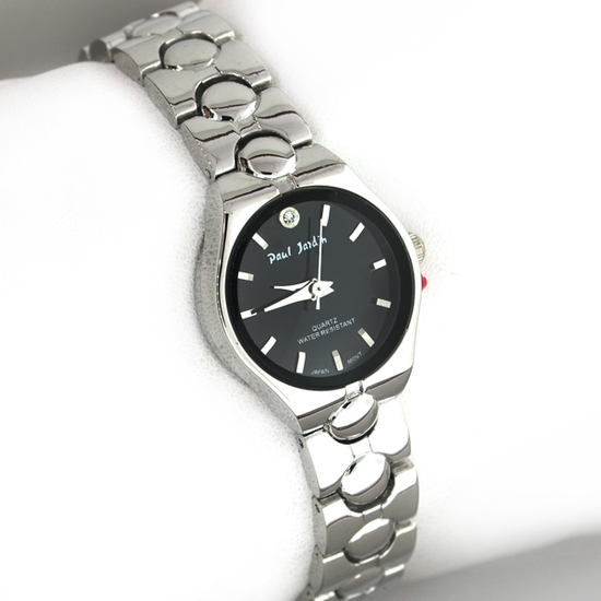 Paul Jardin Women's Stainless Steel Round Silver and Black Watch