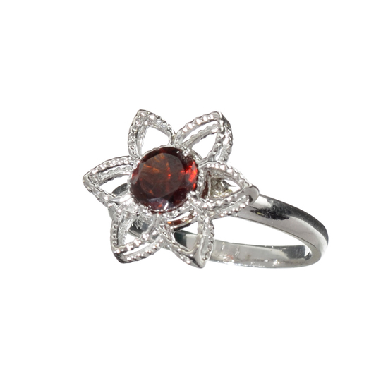 1.41CT Round Cut Almandite Garnet And Colorless Topaz Platinum Over Sterling Silver Ring