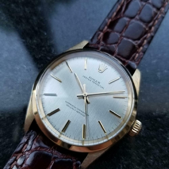*ROLEX Men's 9kt Gold Rolex Oyster perpetual 1002 Automatic 1966 Swiss Watch