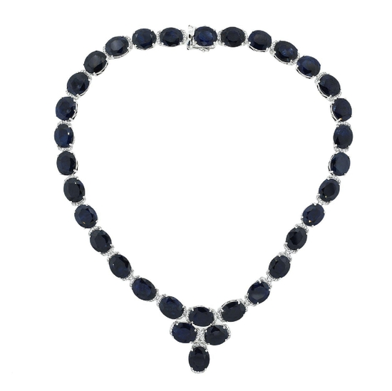 APP: 14k *180.46ctw Blue Sapphire and 2.96ctw Colorless Topaz Silver Necklace (Vault_R9_25111)