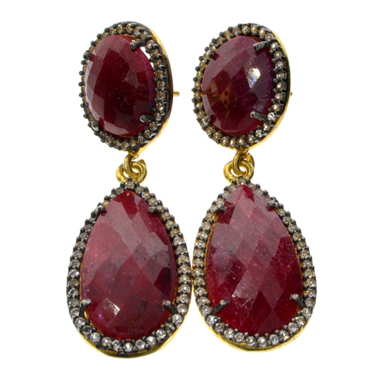 APP: 3.3k 29.00CT Ruby and Topaz Gold Platinum Over Sterling Silver Earrings