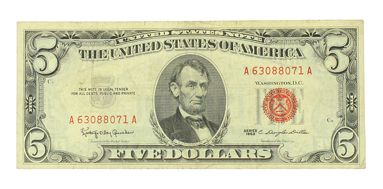 Extremely Rare 1963 $5 U.S. Red Seal Silver Certificate