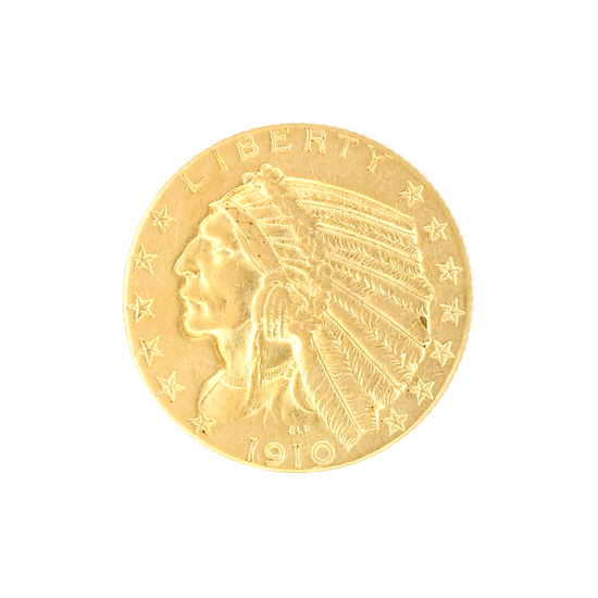 Extremely Rare 1910-D $5 U.S. Indian Head Gold Coin
