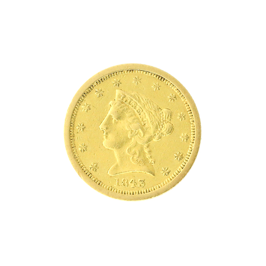Extremely Rare 1843-O $2.50 U.S. Liberty Head Gold Coin