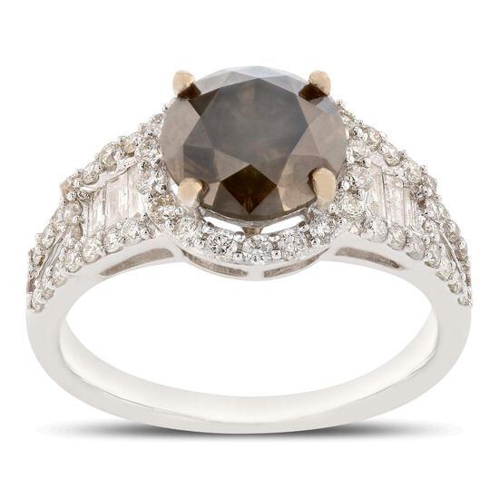 APP: 20.9k *2.23ct Fancy Dark Gray CENTER Diamond 18K White Gold Ring (2.92ctw Diamonds) GIA CERTIFI