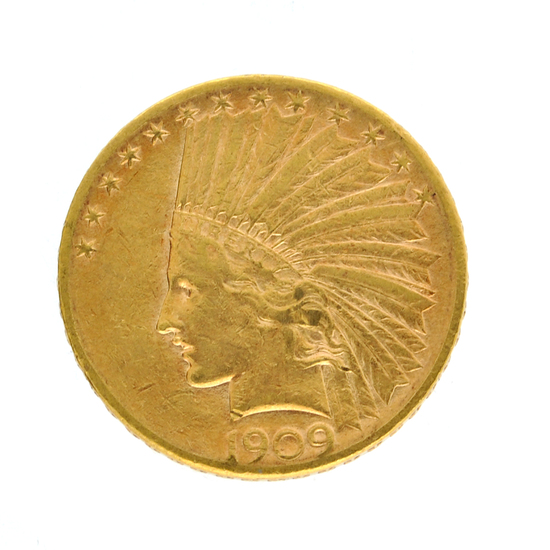 Extremely Rare 1909-S $10 U.S. Indian Head Gold Coin