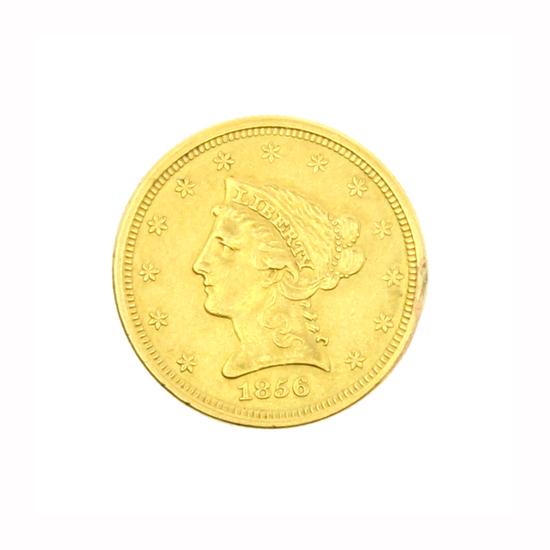 Rare 1856 $2.50 U.S. Liberty Head Gold Coin