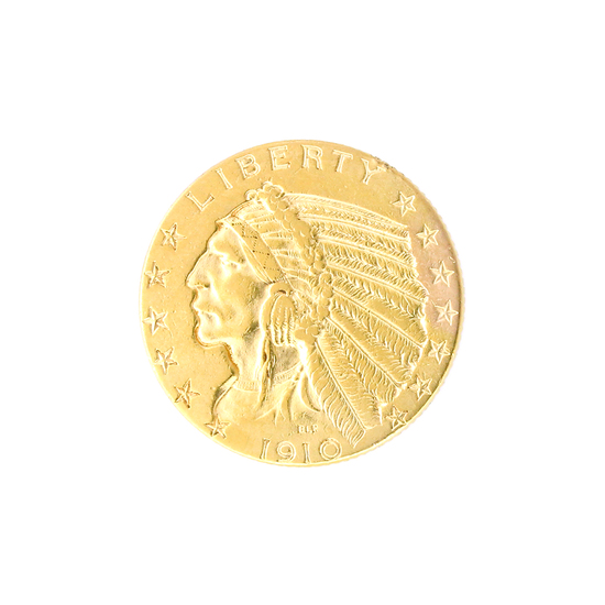 Extremely Rare  1910 $5 U.S. Indian Head Gold Coin - Great Investment