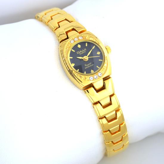 Q Max Women's Stainless Steel Black Gold & Diamond  Watch