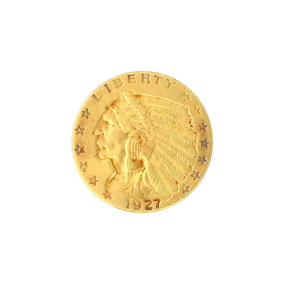 Extremely Rare 1927 $2.50 U.S. Indian Head Gold Coin