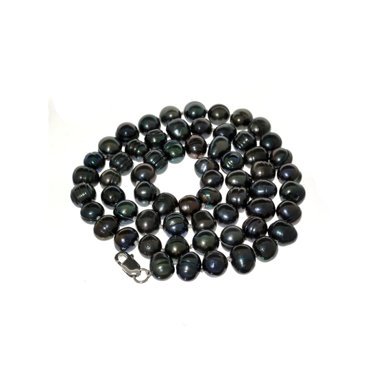 APP: 0.4k 16'' Black Pearl Strand with Sterling Silver Clasp Necklace