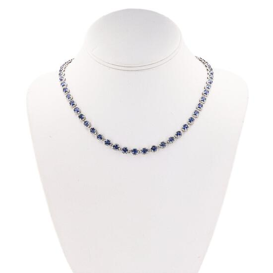APP: 9.8k *18.20ctw Tanzanite and 0.90ctw Diamond Silver Necklace (Vault_R9_24299)