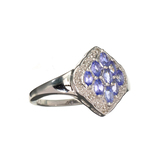 APP: 1k Fine Jewelry 0.55CT Marquise Cut Tanzanite And Diamond Over Sterling Silver Ring