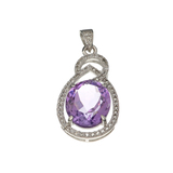 APP: 1.2k Fine Jewelry 8.40CT Purple Amethyst And White Sapphire Sterling Silver Pendant